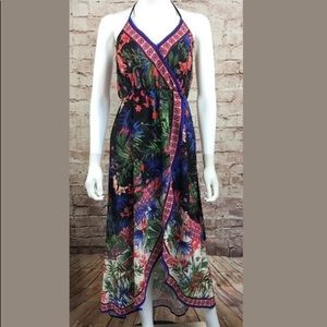 Flying Tomato Tropical Print Halter Maxi Dress